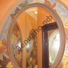 Круглое зеркало серебро в багетной раме